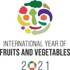 colourful fruits and veggies arranged in a circle to create an image of a person's face. This is the logo for the IYFV 2021.