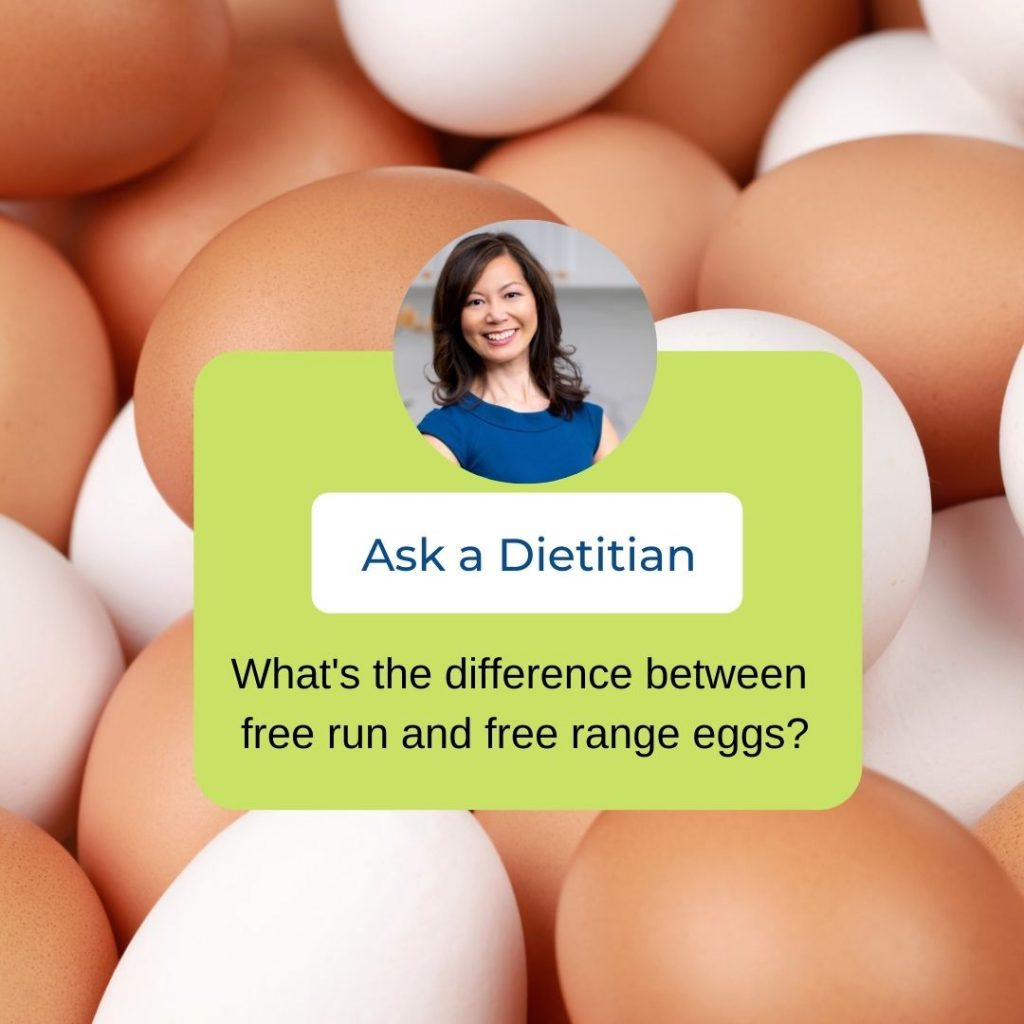Small headshot of Sue Mah over-layed on a background of brown and white eggs. The Ask a Dietitian question is typed within a green box.
