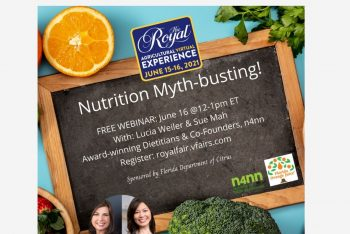 Webinar title Nutrition Myth-busting written on a small blackboard, surrounded by images of fruit, a headshot of Lucia and Sue, and the logos for Nutrition for NON-Nutritionists, Royal Fair and Florida Department of Citrus.