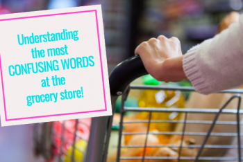 women pushing grocery cart with overlay title of blog