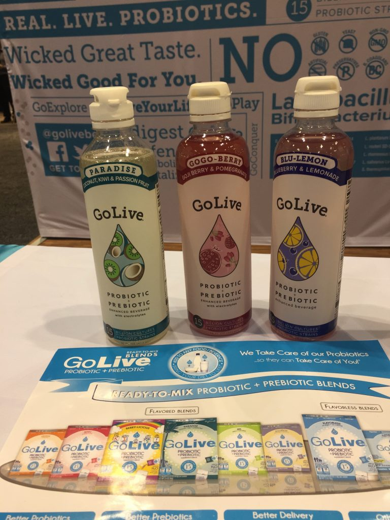 Go Live Probiotic & Prebiotic Beverages – the probiotic is housed in a foil-blister cap which can be added to the beverage when you're ready to drink. Slogan: Think outside the bottle, look inside the cap!