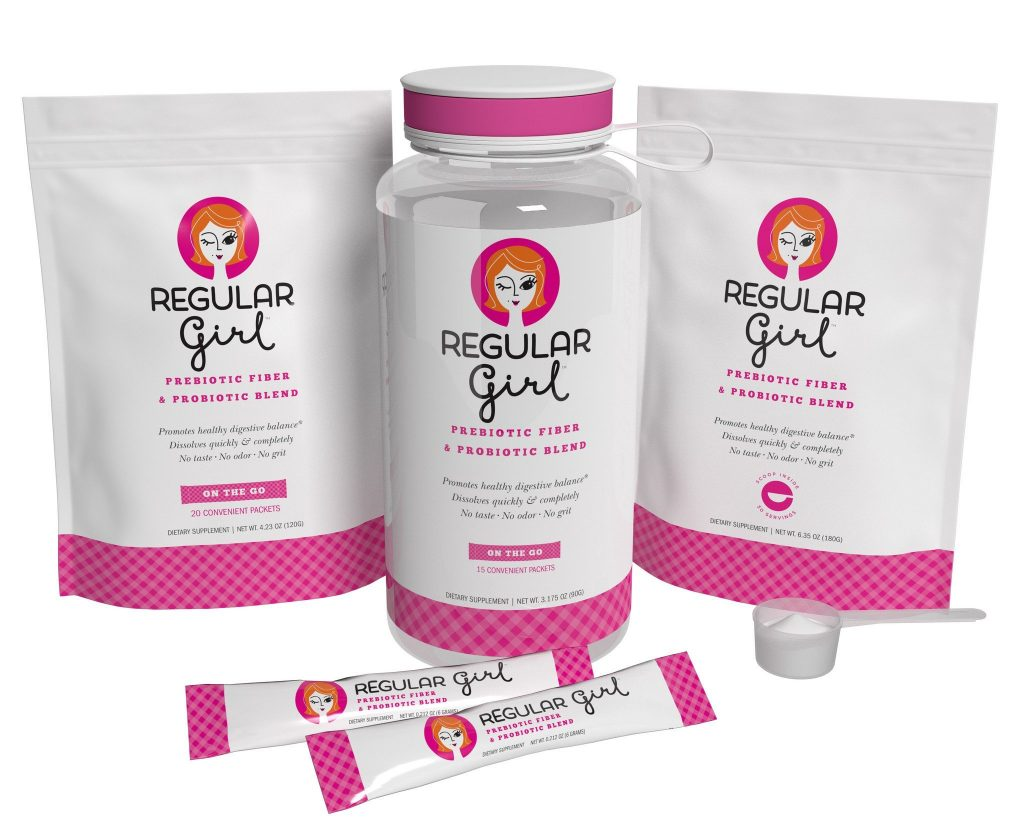 Regular Girl – prebiotic fibre and probiotics for the women whose life is anything but regular. Can be sprinkled on food or in beverages. Slogans: Eat, drink and be regular! You go girl! Déjà poo!