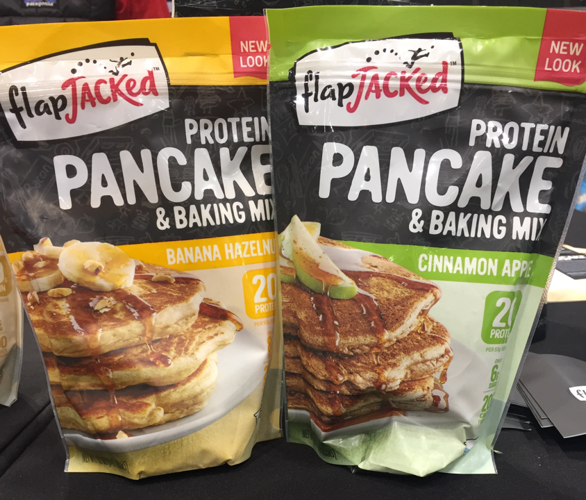 FlapJacked Protein Pancake & Baking Mix – boasting 19 grams of protein per 60 g serving from whey protein isolate and pea protein.