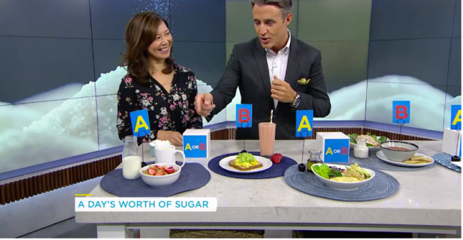 Registered Dietitian Sue Mah quizzes TV host Ben Mulroney about the sugars in different meals.