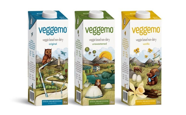 Veggemo – veggie-based  non-dairy beverage made from pea protein. Fortified with calcium, vitamin D and vitamin B12, but only 3-4 g protein per cup.