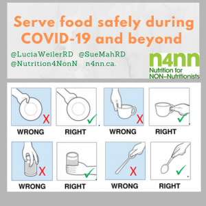An infographic demonstrates right and wrong ways to handle dishes and cutlery to serve food safely during COVID-19 and beyond.