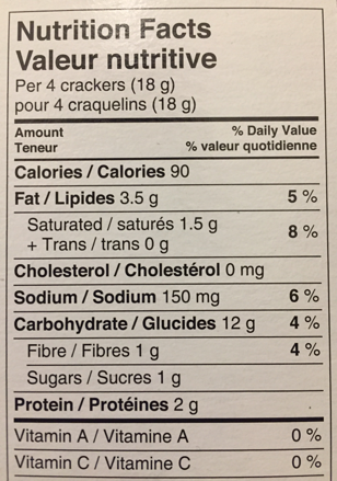Nutrition Facts table for crackers, showing 6% DV for sodium