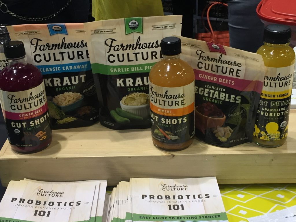 Farmhouse Culture Gut Shots – probiotic beverages and foods made with fermented veggies. Slogan: We're here to ferment a food revolution!